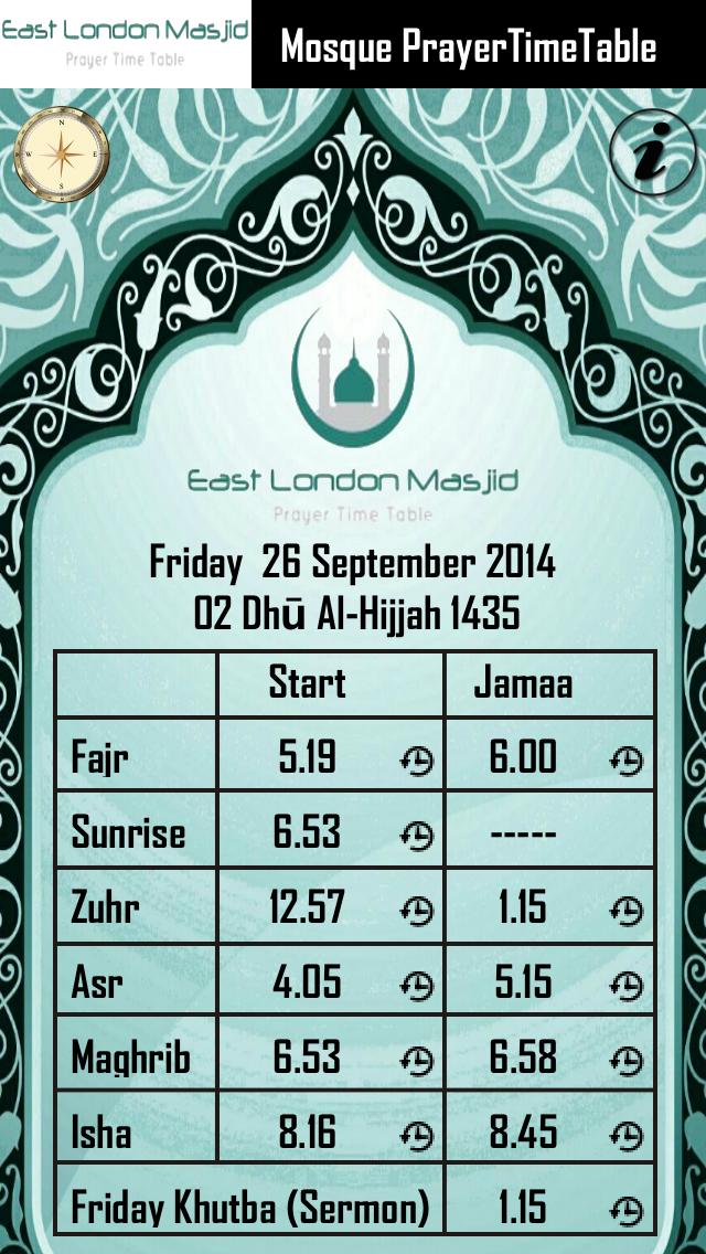 East London Masjid Prayer Time Table screenshot two