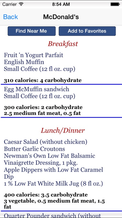 Diabetes and Eating Out - Fast Food and Blood Sugar Control App screenshot-3