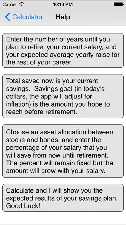 Retirement Savings Calculator Lite screenshot-3