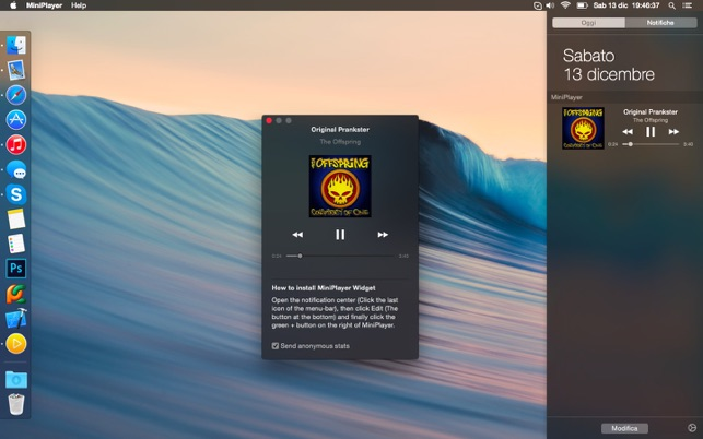 MiniPlayer - A Widget to control iTunes on the Mac App Store