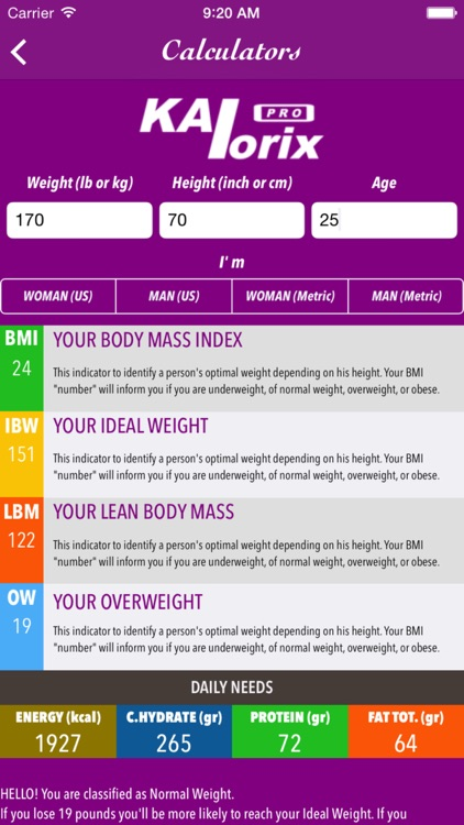 Kalorix Pro Nutrition Database; Fitness, Calorie, Diet, BMI Calculators; Acidic, Alkaline Foods screenshot-1