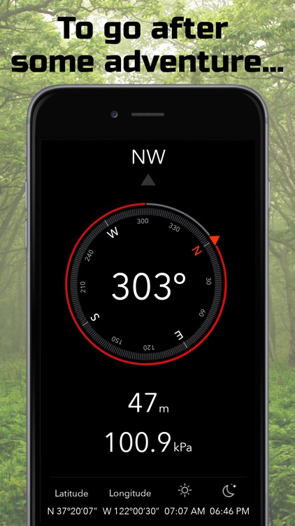 Heading | Compass, Altimeter, Barometer, Location, Sunrise & Sunset screenshot-0