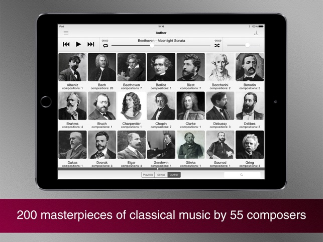 Masterpieces of classical music. Screenshot