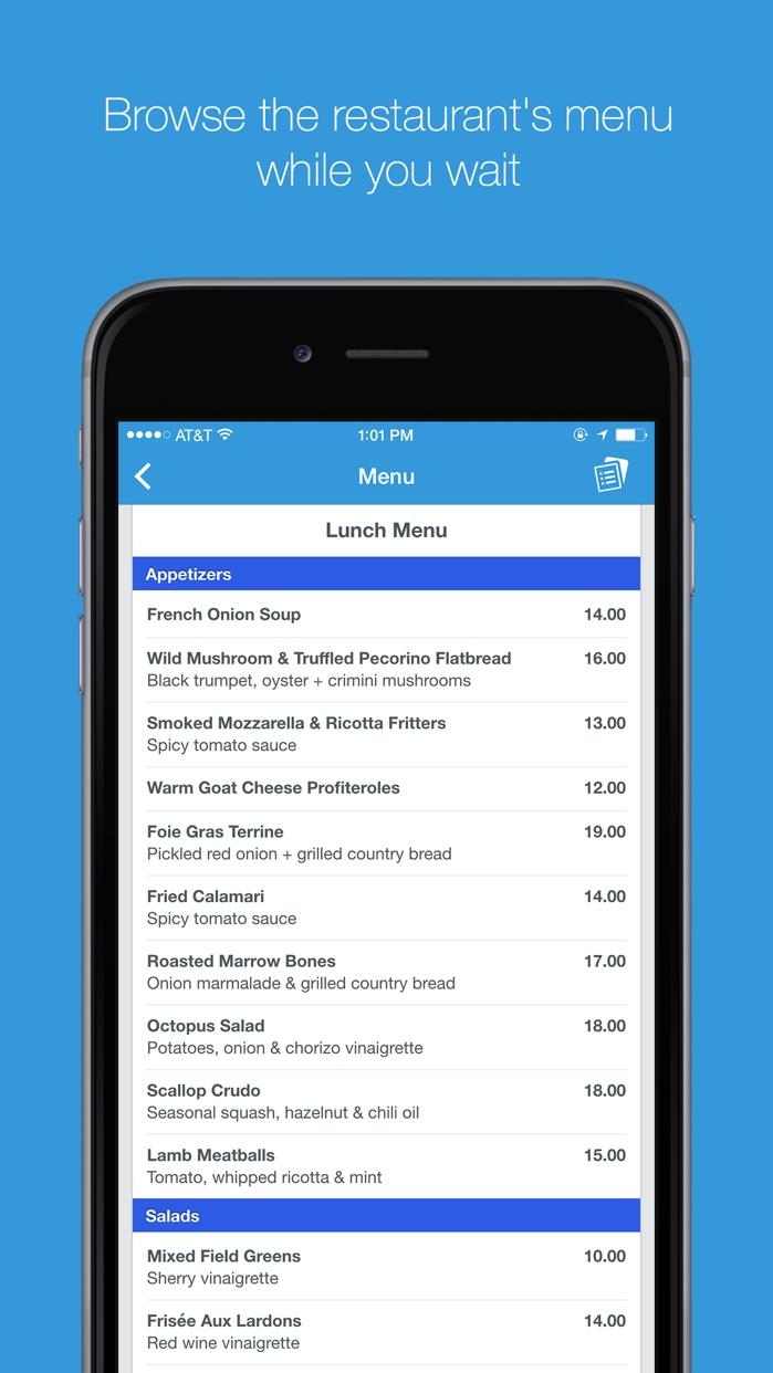 The List - Restaurant Wait list and Booking App Screenshot