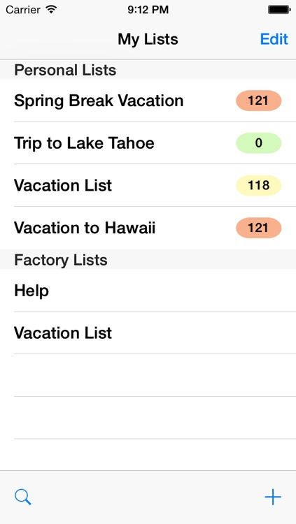 Vacation Planning List