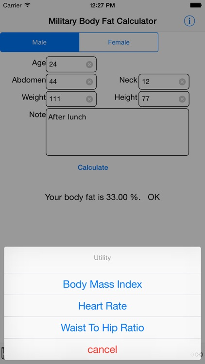 Army Body Fat Calculator For iPhone
