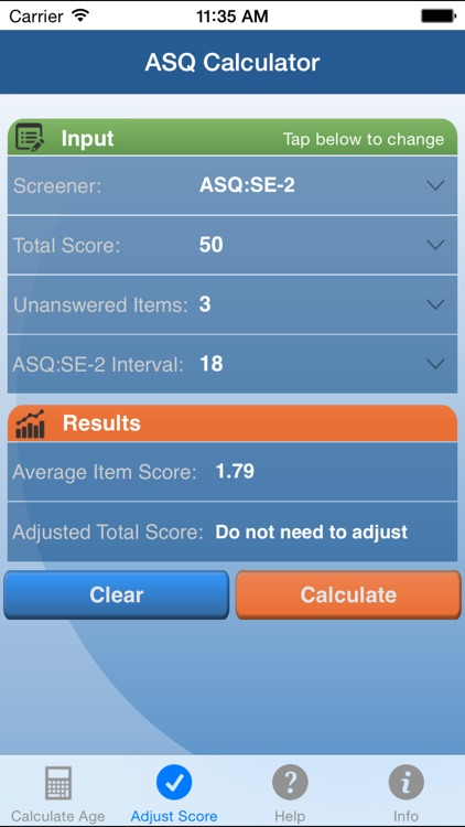 ASQ Age & Adjusted Score Calculator