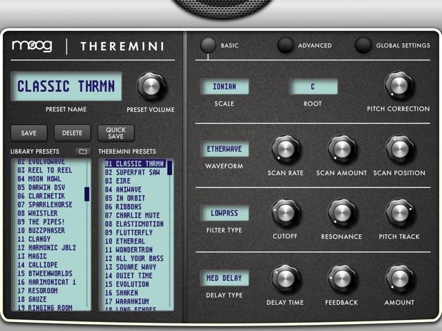 Theremini Advanced Software Editor Screenshot