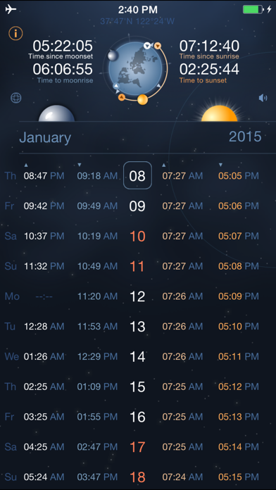 Raise and Set Times - Moonrise, moonset, sunrise, sunset times and compass screenshot one