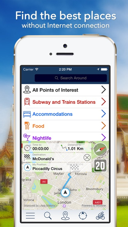 Bangkok Offline Map + City Guide Navigator, Attractions and Transports
