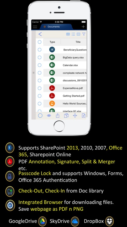 Portal Surface: Mobile Office 365 and SharePoint Online Client with Cloud Drives