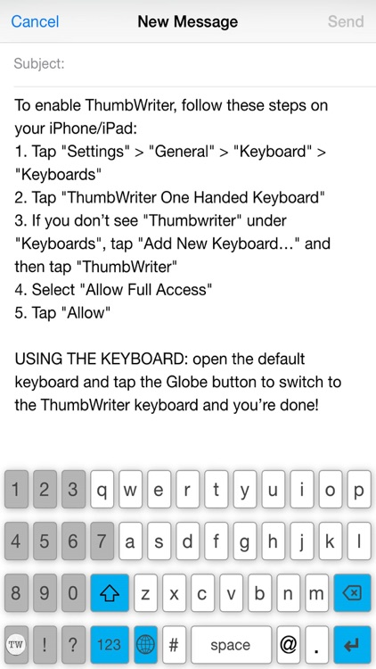 ThumbWriter One Handed Keyboard