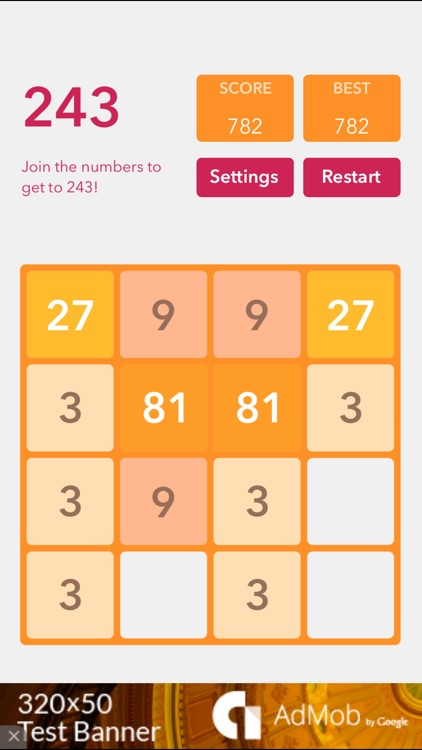 243 Game: Join the numbers and get to the 243 tile!