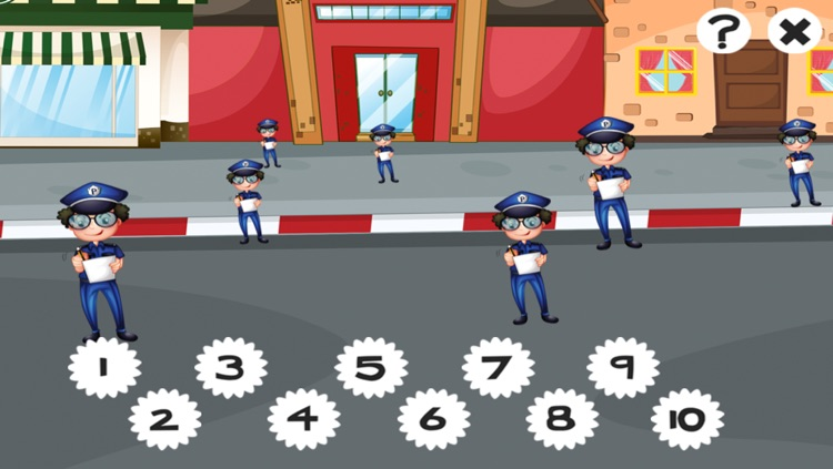 A counting game for children with police-men to learn to count 1-10