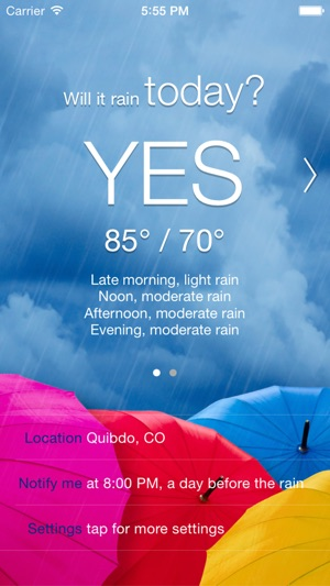 Will it Rain? - Rain condition and weather forecast alerts and notification Screenshot