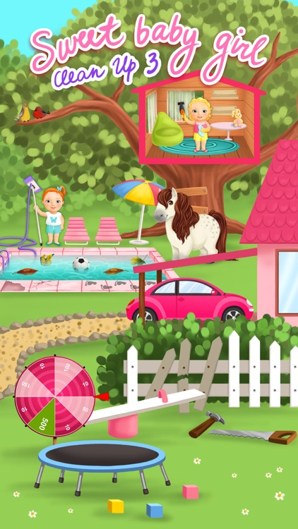 Sweet Baby Girl Cleanup 3 House Chores, Car Wash and Pony Care - Kids Game screenshot-0