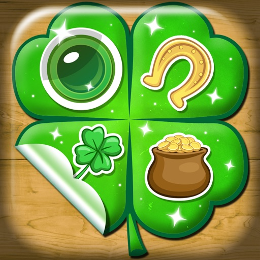 Green Photo Stickers for St. Patrick's Day with fun Beer Sticker Lucky Shamrock and Gold Horseshoes