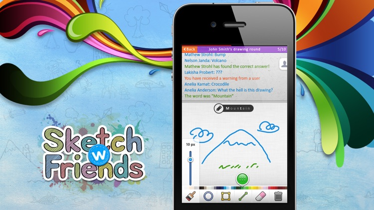 Sketch W Friends ~ Free Multiplayer Online Draw and Guess Friends & Family Word Game for iPhone