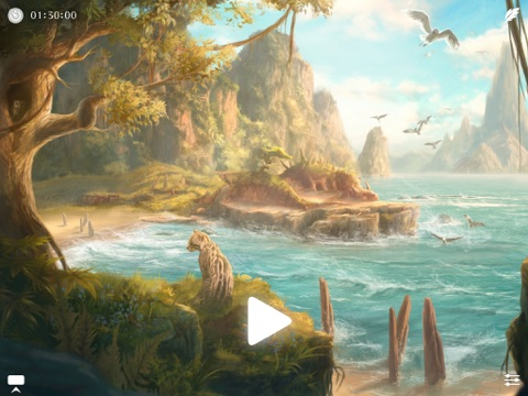 Sunny ~ Calm wave & ocean sounds to Sleep Relax Meditate on the beach with rain and sea birds Screenshot