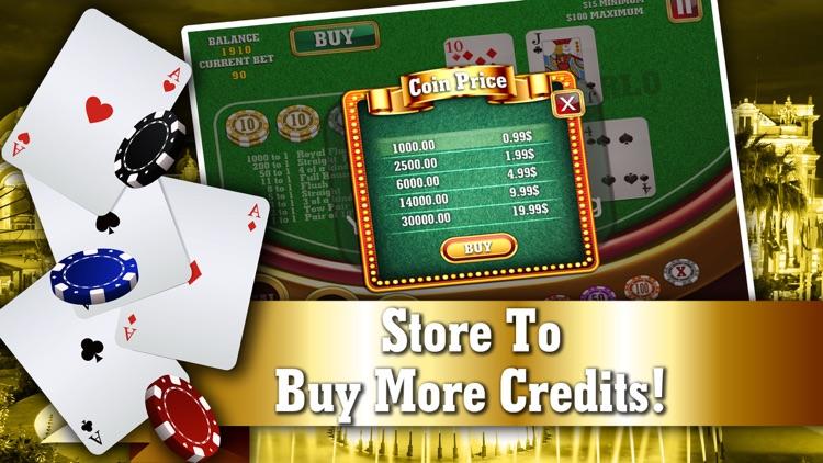 Monte Carlo Poker FREE - VIP High Rank 5 Card Casino Game screenshot-3