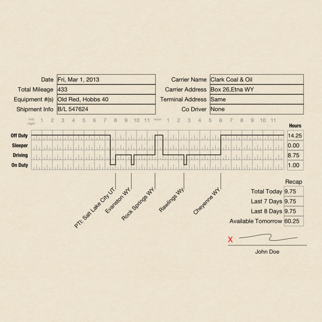 Drivers Daily Log Electronic Logbook For Drivers On The