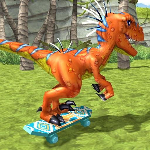 Jurassic Skate VelociRaptor. Dino Skating In Prehistoric Temple Wold