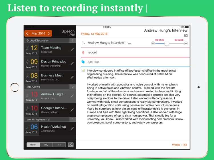 SpeechRecorder - Record audio & Take Note