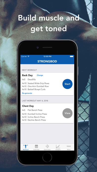 StrongBod - Free personal trainer and gym workout planner app for personalized fitness routines screenshot