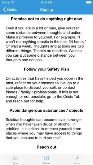 Suicide Safety Plan On The App Store