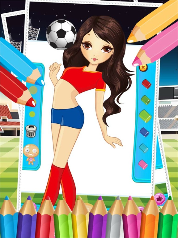 Pretty Girl Fashion Sport Coloring World - Paint And Draw Football ...