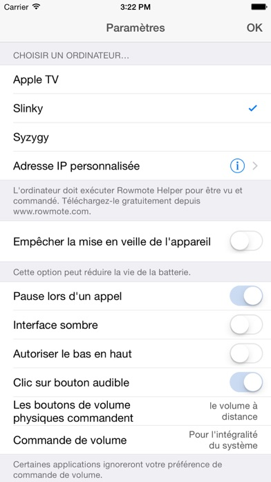 Screenshot #3 pour Rowmote: Remote Control for Mac and Apple TV