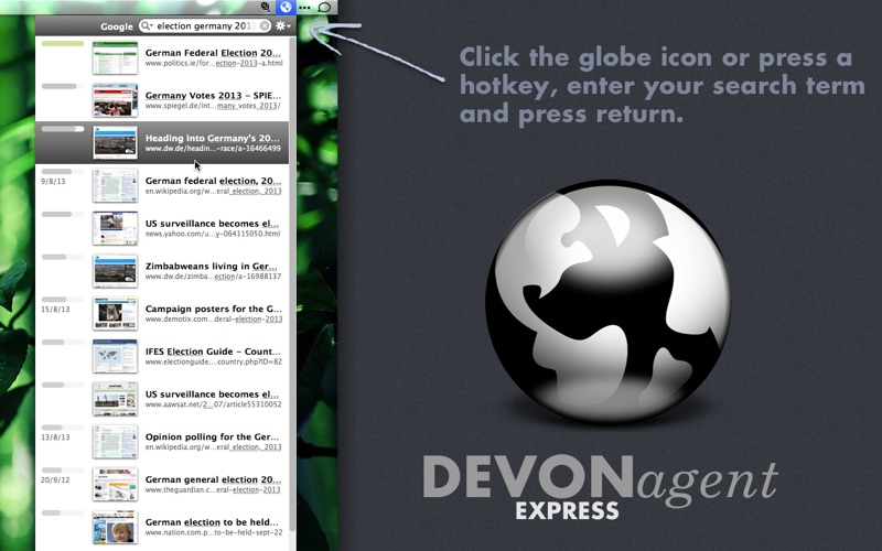 DEVONagent Express Screenshot