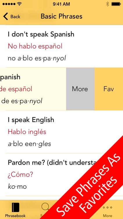SpeakEasy Spanish Lite ~ Free Travel Phrases with Voice and Phonetics screenshot-4
