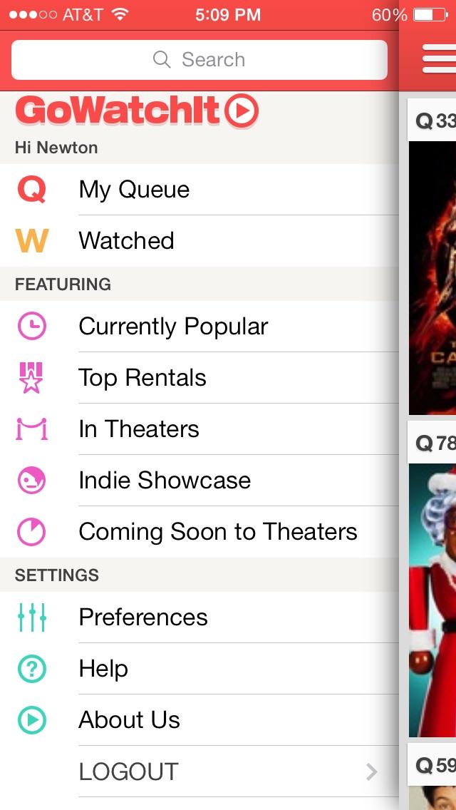 GoWatchIt Movie Search & Queue Screenshot
