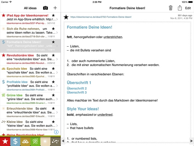 Chromolux Ideenkonserve im App Store