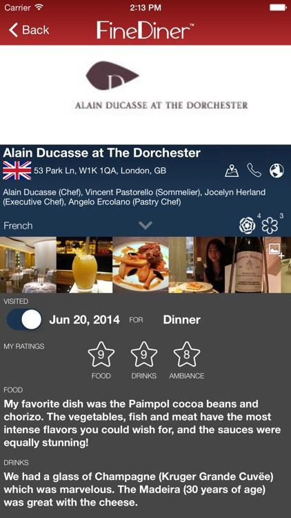 FineDiner - your restaurant journal