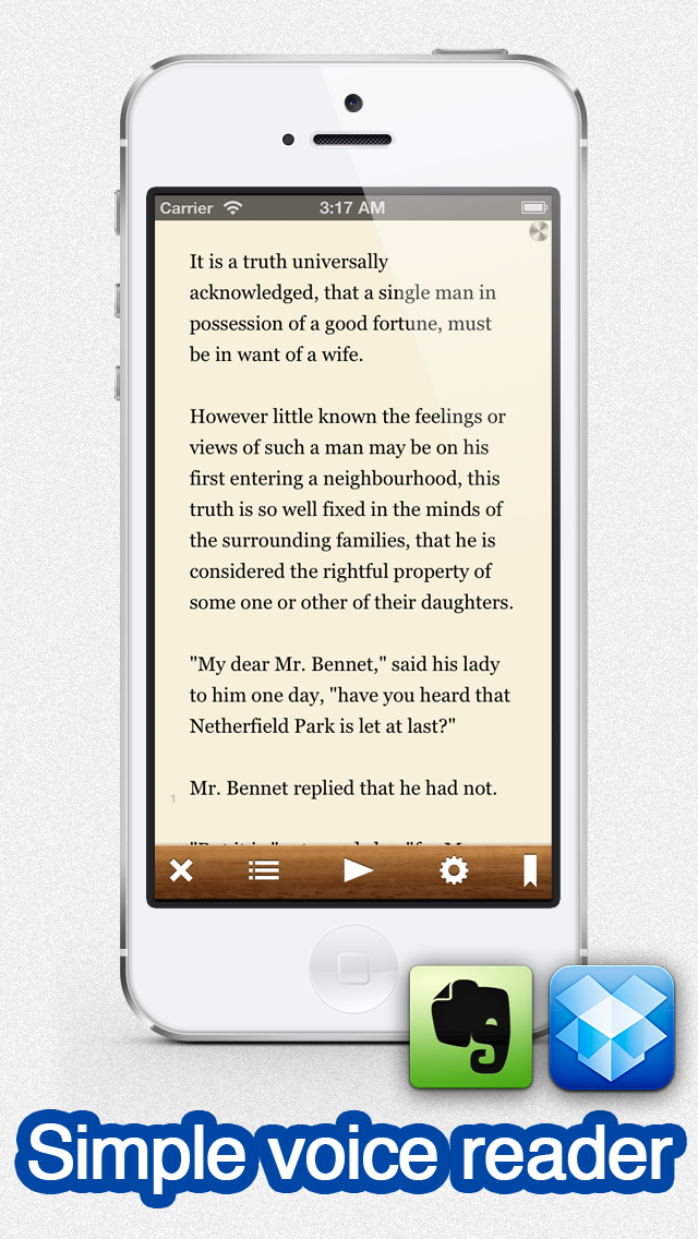 Voicepaper - The Text To Speech Voice Reader For Dropbox and Evernote screenshot one