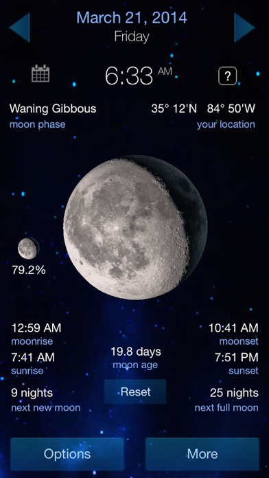 Lunar Phase Full moon calendar screenshot one