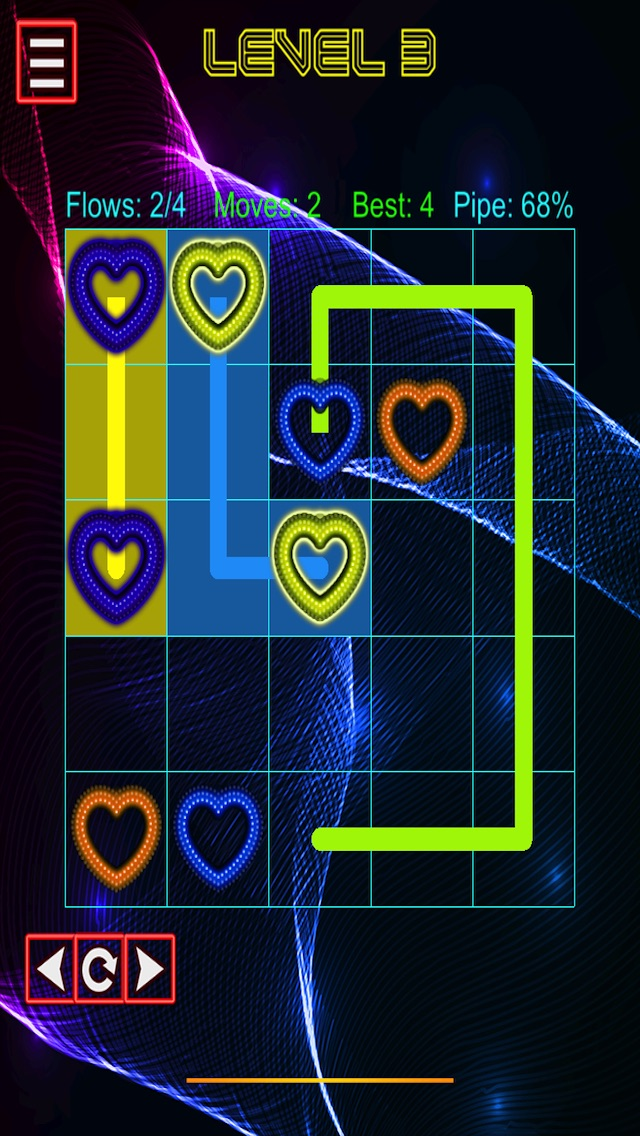 Neon Heart Pipe Lines Screenshot on iOS