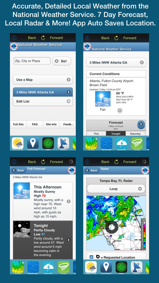 US Weather Tracker Free - Weather Maps, Radar, Severe & Tornado Outlook & NOAA Forecast Screenshot