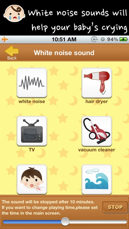 Baby white noise and lullabies nurery rhymes (crying baby sleep trainer and rattle) screenshot-2