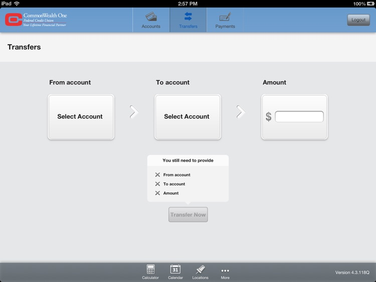 CommonWealth One Federal Credit Union for iPad screenshot-3