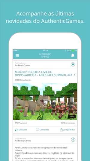 AuthenticGames Oficial For Youtube On The App Store - Skin para minecraft pe do authenticgames