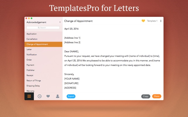 TemplatesPro for Letters