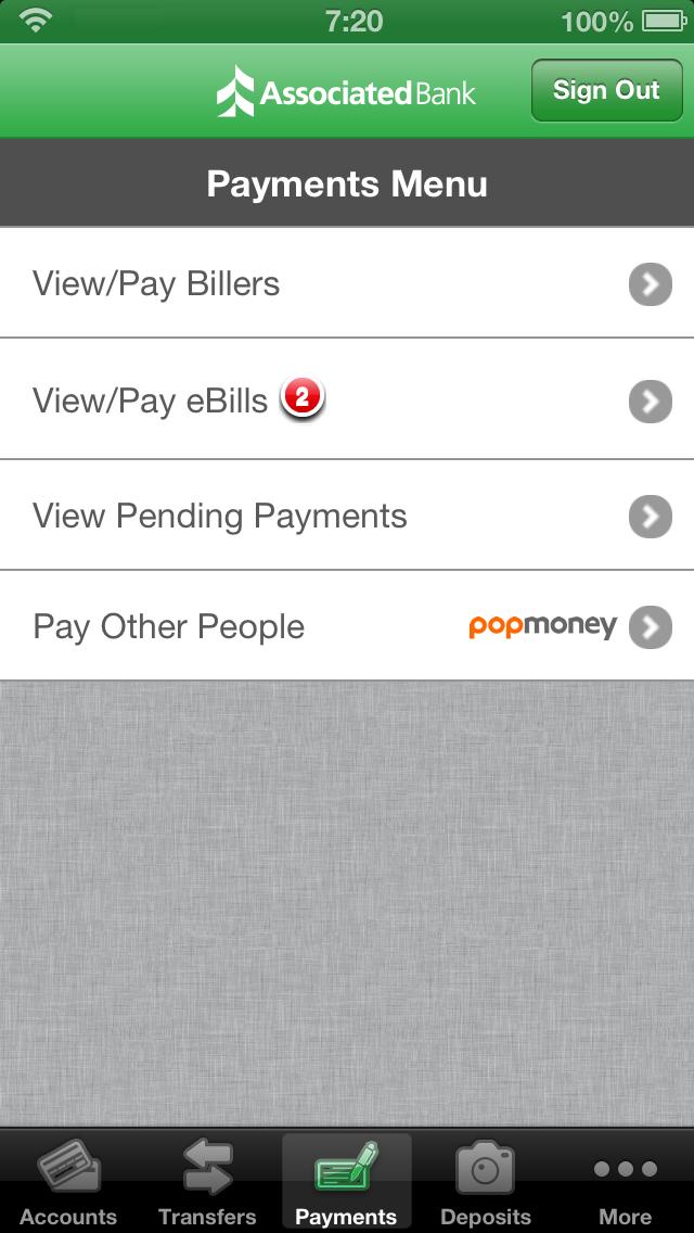 Associated Mobile Banking - iPhone Screenshot