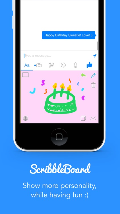ScribbleBoard for iOS 8 - Keyboard to draw your messages