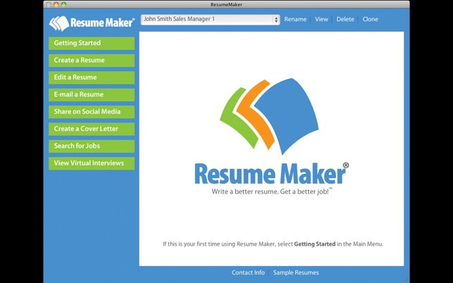 screenshots - Resume Maker Program
