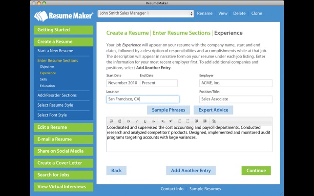 Resume Maker on the Mac App Store