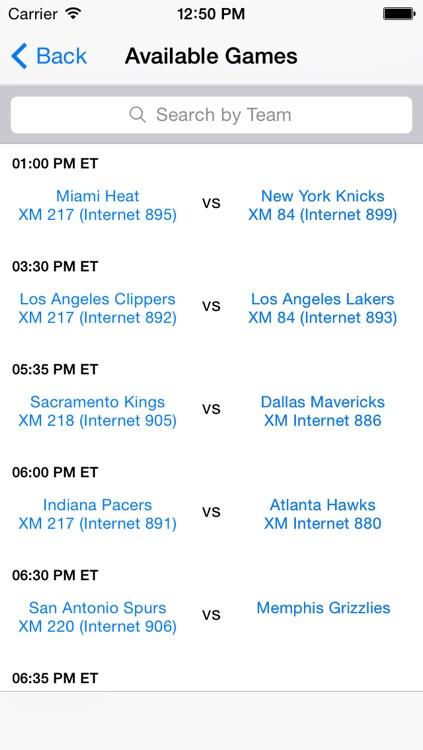 Satellite Sports Guide for Sirius XM