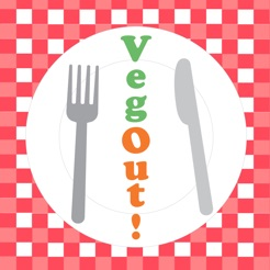 "red and white gingham background with a white plate, fork and knife, and the phrase ""veg out"" going vertically down the plate"